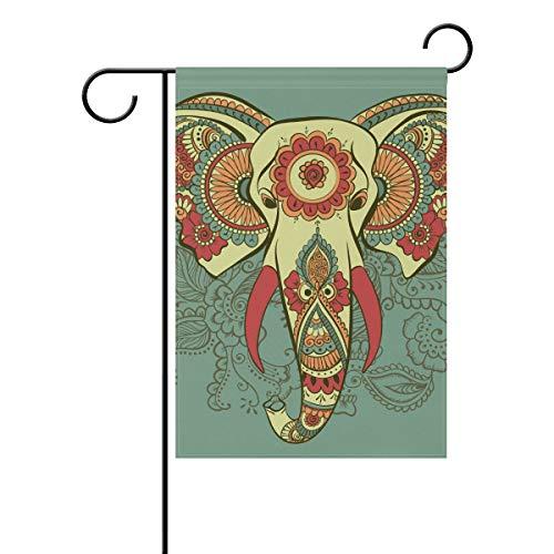 Naiian bandiera da giardino doppio astratto floreale animale elefante indiano 30,5x 45,7cm banner per outdoor lawn decor, poliestere, image 616, 28x40(in)