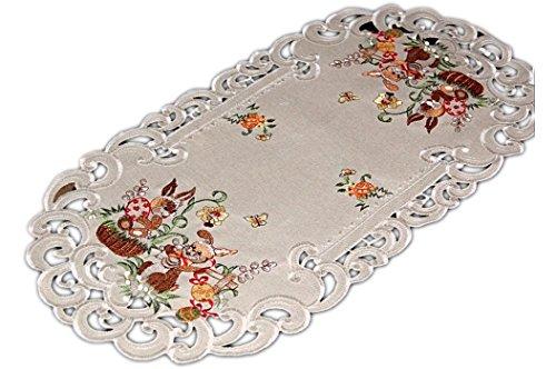 Tischdecke OSTERN 40x110 cm oval Leinenoptik BEIGE OSTERhase Deckchen Tischläufer Osterdecke Ostertischdecke