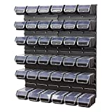 40 teiliges Werkstattwand Lagerregal inkl. Stapelboxen schwarz Wandplatten Ergobox Plus
