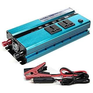 1500W Power Inverter 12V DC bis 220V AC Auto Konverter mit USB-Ladegerät Anschlüsse Ausgänge für mobile Laptop Applicance Aufladen, 2Jahre Garantie