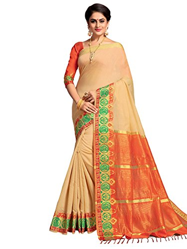 Kanchnar Women's Beige Color Cotton Silk Jacquard Saree-753S7518