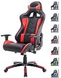 Delman Racing Bürostuhl Gaming Chair Schreibtischstuhl Drehstuhl Sportsitz Ergonomischer PU Leder Höhenverstellbar mit Armlehnen 02-1004 (Schwarz-Rot)