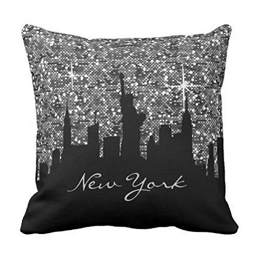 DEFFWBb Black and Silver Confetti Glitter New York Skyline Throw Pillowcase 18 x 18 inches