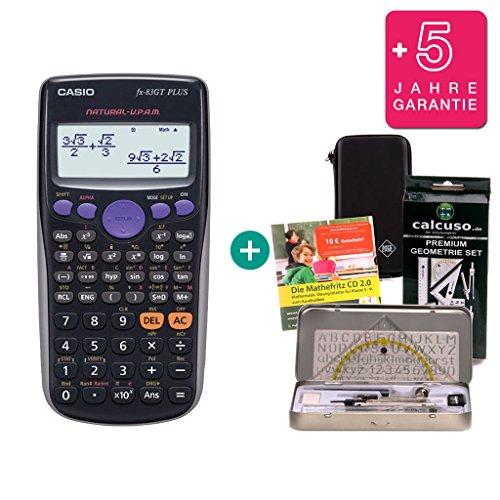 Casio Streberpaket FX-83GT Plus + Schutztasche + Lern-CD (auf Deutsch) + Geometrie-Set + Erweiterte Garantie