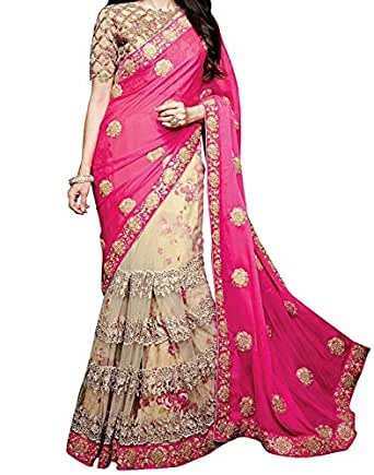 Maiya Saree Georgette & Net Saree With Blouse Piece (Apsarapink~Georgette Sarees1_Pink_Free Size)