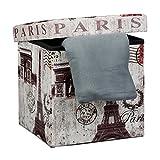 Relaxdays Faltbarer Sitzhocker 38 cm stabiler Sitzwürfel mit trendigen Motiven