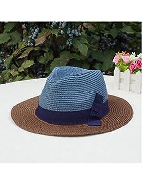 LVLIDAN Sombrero para el sol del verano Lady Anti-Sol Playa plegable sombrero de paja azul