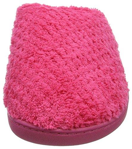 Isotoner Damen Ladies Popcorn Mule Slippers Pantoffeln Pink (Hot Pink)