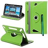 Samsung Galaxy Tab 3 Lite 7.0 3G Neues Design Universelle um 360 Grad drehbare PU-Leder Designer bunte Hülle mit Standfunktion - Cover - Tasche - Grün / Plain Green Von Gadget Giant®