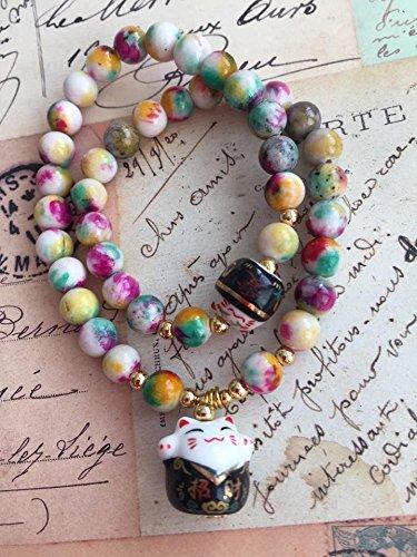 handmade-natural-stone-lucky-cat-charm-bead-bracelet