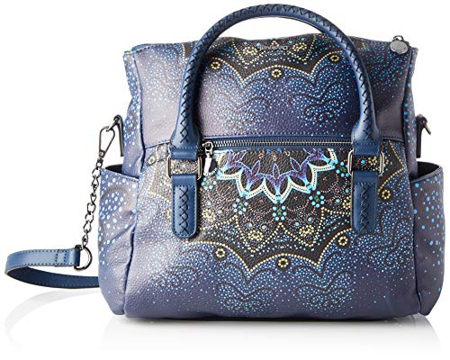 Desigual Damen Bag Tekila Sunrise Loverty Henkeltasche, Blau (Petrucho), 24x9x29.5 cm