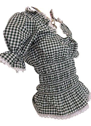 Blusen Damen Trachtenblusen Schwarz Weiß Karo Baumwollmischung (46)
