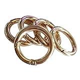 perfk 5er Set Karabiner Ring Karabinerhaken Schnapphaken Schraubkarabine Taschenringe für Henkel Griffe von Handtaschen Ledertaschen - Gold