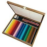 Matita colorata acquarellabile - STABILOaquacolor - Cassetta in Legno - Cofanetto Regalo con 36 Colori, 3 Matite HB, 1 Gomma, 1 Temperino, 1 Pennello