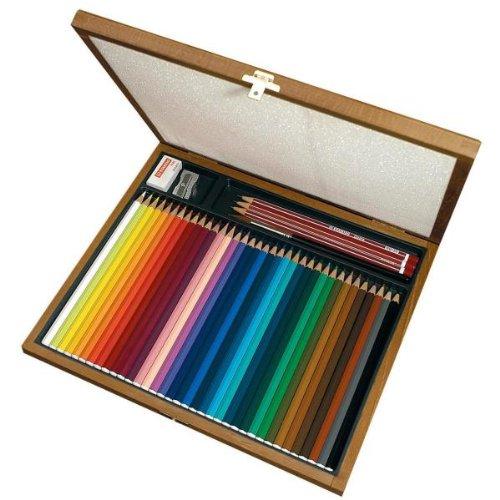 Stabilo it1639l aquacolor cassetta legno, 36 colori, 3 matite hb, 1 gomma, 1 temperino, 1 pennello
