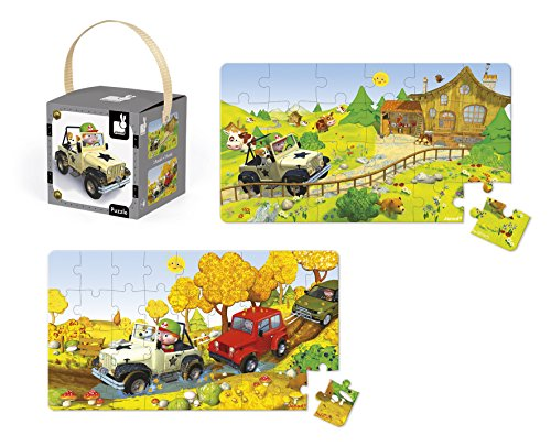 Janod J02765 - Puzzle Jack Fährt Jeep, zwei Motive In Box