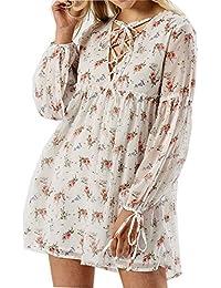Frauen-Spitze-Bindung herauf Fehlschlag-Blumendruck-Chiffon- Kittel-Damen-Kleid