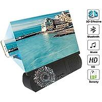 DXQDXQ Se Monta Lupa de Pantalla con Altavoz 3D Amplificador Portátil de Pantalla del Teléfono Portátil Proyector de Películas para Todos los Teléfonos Inteligentes Conveniencia (Color : Black)