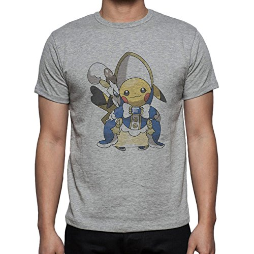 Pokemon Pikachu Electric Rat Yellow Blue Clothes Herren T-Shirt Grau
