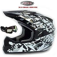 Nuovo Caschi moto - VIPER X13 CRAZE Casco moto Bambini Motocross Off Road Enduro Casco Quad PITBIKE ATV Racing Scooter + X1 Occhiali (L (53-54cm), Craze Nero)