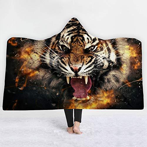 iBlan Mantas para sofá y Cama, Resistentes a Las Arrugas, Anti-Fade,Fantasy Beast Tiger Hooded BlanketManta para niños, 150 * 200 cm
