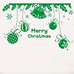 Merry Christmas Ball Bell Removable Wall Sticker Art Home Decor Decal (Green)