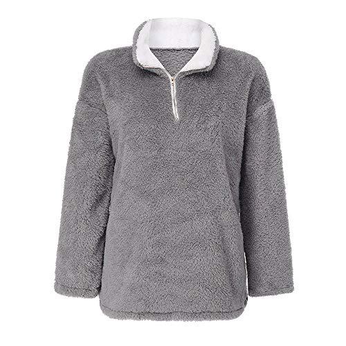 Outwear for Women Winter Fashion Oversize Fluffy Plush Top Sweatshirt  Pullover Outwear Coat HUYURI d71cd6de23