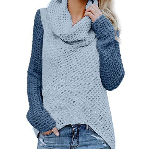 Floweworld Damen Strickpullover Colorblock Waffel Gestrickter Langarm Pullover Wintermode Rollkragen Loses Sweatshirt Lässiger Pullover -