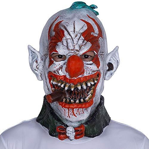 Halloween Maske Latex Kopfbedeckungen Horror Smoking Clown Maske Party Lustige Ball Show Dress Up Requisiten Unisex 1 Stücke Stücke Erwachsene Geschenk,Gray,Onesize