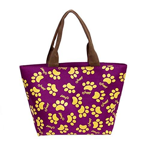 Coloré(TM) Sac Repas Lunch Bag Sac à Déjeuner Isotherme Fourre-tout de pique-nique fourre-tout isolé thermique (Violet)