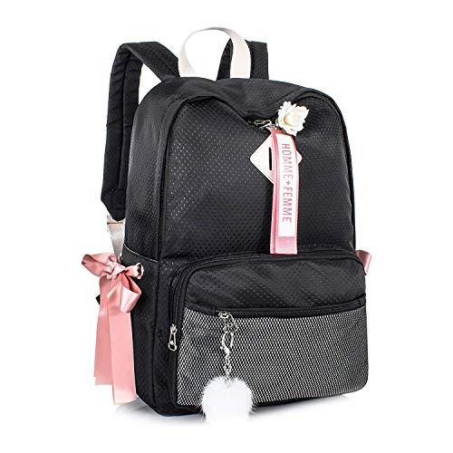 C-Xka Mädchen Herz Schultasche Junior High School Student Bag Campus Große Kapazität Rucksack Outdoor Reise Leichte Rucksack (Farbe : SCHWARZ) -