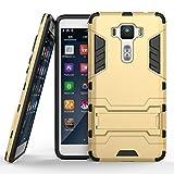 Ougger Handyhülle ASUS Zenfone 3 Deluxe ZS550KL Hülle Schale Tasche, Schutz Stoßdämpfung [Kickstand] Leicht Hülle Schutz Schönhülle Hart PC + Soft TPU Gummi Haut 2in1 Back Gear Rear Gold