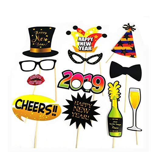 Trimmen Shop Neue Jahr 2019Photo Booth Party Requisiten für Kleid bis Zubehör, Hochzeit, Geburtstag, Weihnachten, Jahrestag, Thanksgiving Day, New Year Celebration, 12