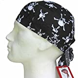 Fitted BANDANA White Skulls on Black background