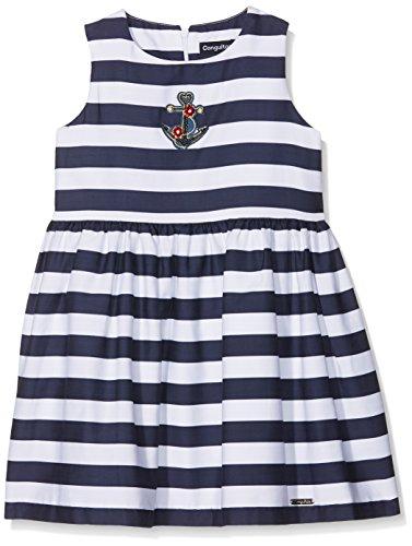 Conguitos Vestido Rayas Niña, Niñas, Azul (Marino), 116 (Tamaño del Fabricante:6A)