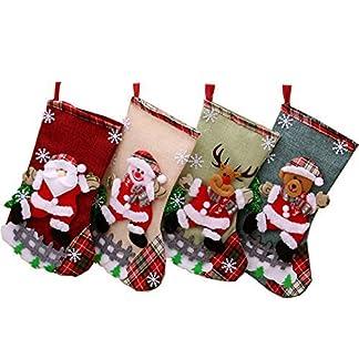 Sohapy – Juego de 4 Calcetines de Navidad para Colgar en Fiestas, diseño de Papá Noel, muñeco de Nieve, Reno y Reno