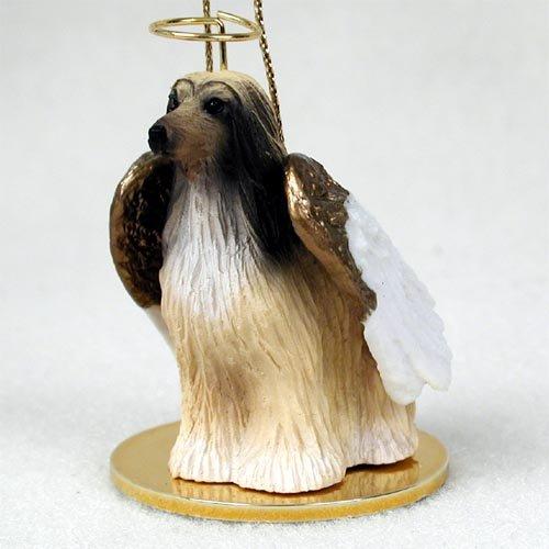 Windhund Afghan), weiß, camel, Figur: Engel -