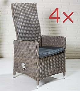 4x Gartenstuhl Gartensessel braun grau meliert mit verstellbarer Rückenlehne