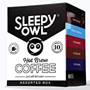 Sleepy Owl Coffee Assorted Hot Brew Bags | Makes 10 Cups |5 Minute Brew - No Equipment Required | 100% Arabica