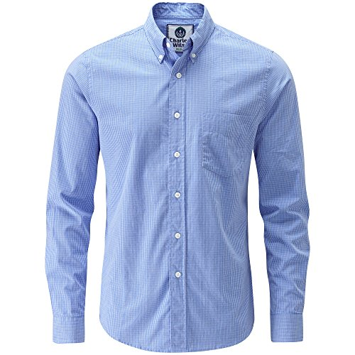 Charles Wilson Long Sleeve Classic Casual Shirt (Large, Sky Blue & White)