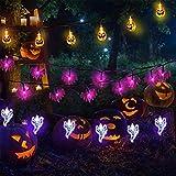 yizeda Halloween Lichten Outdoor Halloween Lichtslingers 3 Pack 30ft 60 LED 3D Pompoen Ghost Bat Lichtslingers Batterij Operated Halloween Decoraties voor Outdoor Indoor Halloween Party