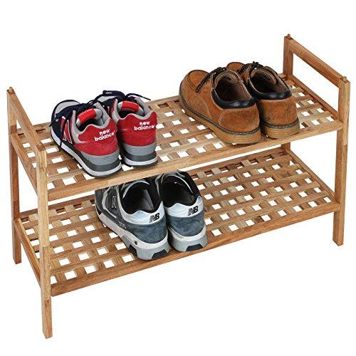 Miadomodo Schuhregal Schuhschrank Schuhablage Schuhständer im 2er-Set aus natürlichem Holz