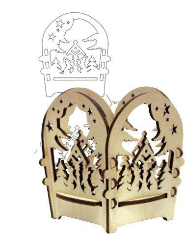 Holz Bastelset 3-D - Laubsäge Teelichthalter Hasen im Wald - zum Aussägen und Laubsägen / zum selber basteln - Echt Erzgebirge - hergestellt in Deutschland - Deko für Weihnachten / Kinder + Erwachsene - Komplettset