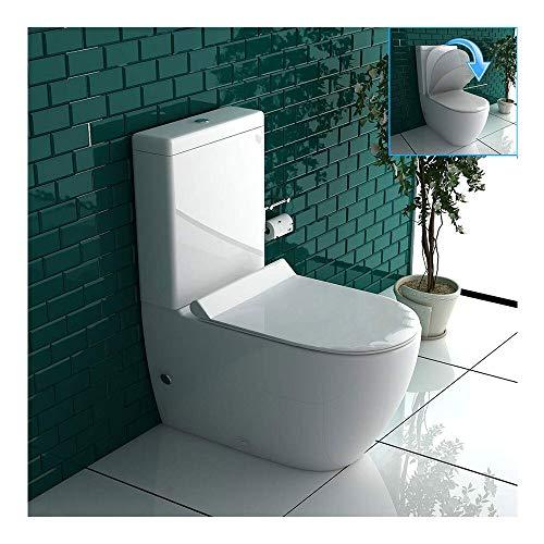 Stand WC Weiss mit Geberit Spülkasten Komplett Keramik Toilette inkl. WC-Sitz | Tiefspüler leise Absenkung Softclose WC-Set GEBERIT Spülgarnitur