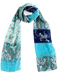 Elegant Paisley Design Womens Chiffon Scarf - In Blue, Purple, Pink, Green, Orange, Cream & Brown
