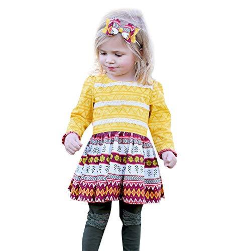YEARNLY Kleinkind Kinder Baby Mädchen Thanksgiving Blumenspitze Party Sommerkleid Outfits Kleidung Weihnachten Thanksgiving Floral Gelb Geometric Print Kleid