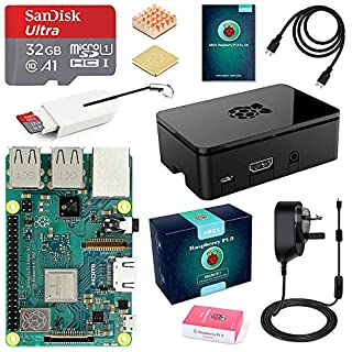 ABOX Raspberry Pi 3 B+ Model B Plus Complete Starter Kit Motherboard 32GB SanDisk EVO+ SD Card NOOBS, 3A On/off UK Edition Power Supply, Support POE (Pi 3 B+)
