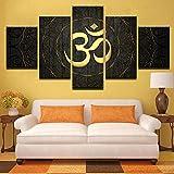 Rkmaster-5 Piezas Lienzo Pintura Buda Om Yoga Símbolo De Oro Lienzo Cuadro Pintura...