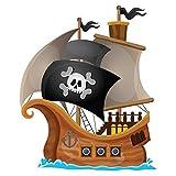 azutura Pirat Wand Sticker Jolly Roger Piratenschiff Wandtattoo Kinder Schlafzimmer Haus Dekor Erhältlich in 8 Größen Groß Digital