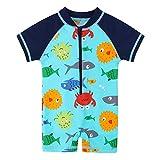 HUAANIUE Bambina Ragazzi Costumi da Bagno Manica Corta Un Pezzo Costume da Bagno Cerniera Lampo Protezione Solare Muta da Sub UPF 50+ Nuoto bagnarsi Blu 6M-4Anni